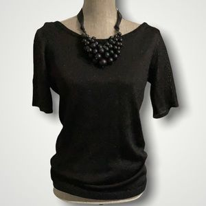 Pink Tartan Black Metallic Short Sleeve Sweater